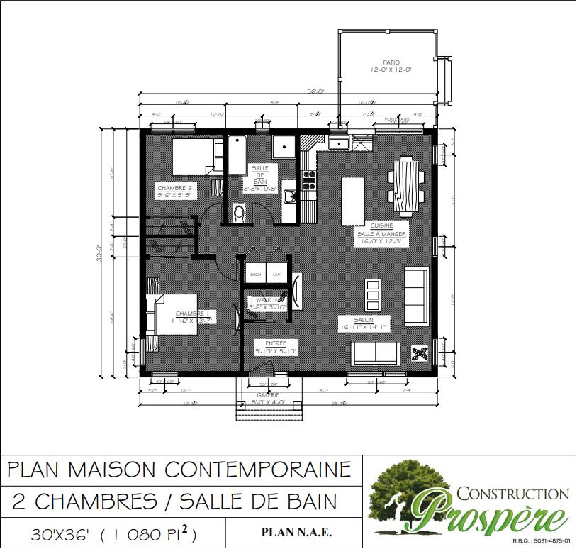 plan 2D de maison série Prospère - Contemporaine